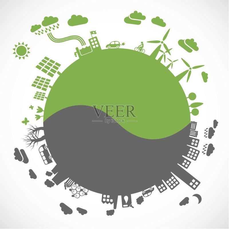 环保的铅笔画-志 循环利用 环境保护 无人 力量 污染 水 树 计算机图形学 设计 环境