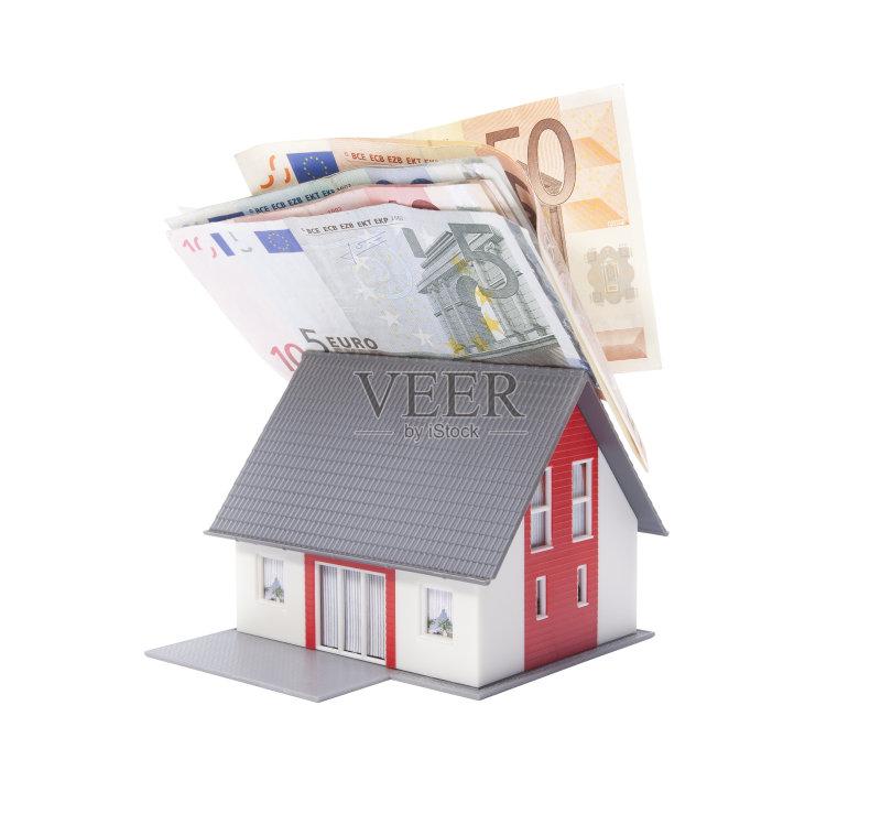 房地产 建筑模型 概念和主题 影棚拍摄 家庭保险 金融 白色背景 货币