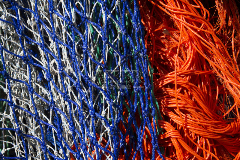 无人 鱼网 网 橙色 渔业 蓝色 渔网 色彩鲜艳
