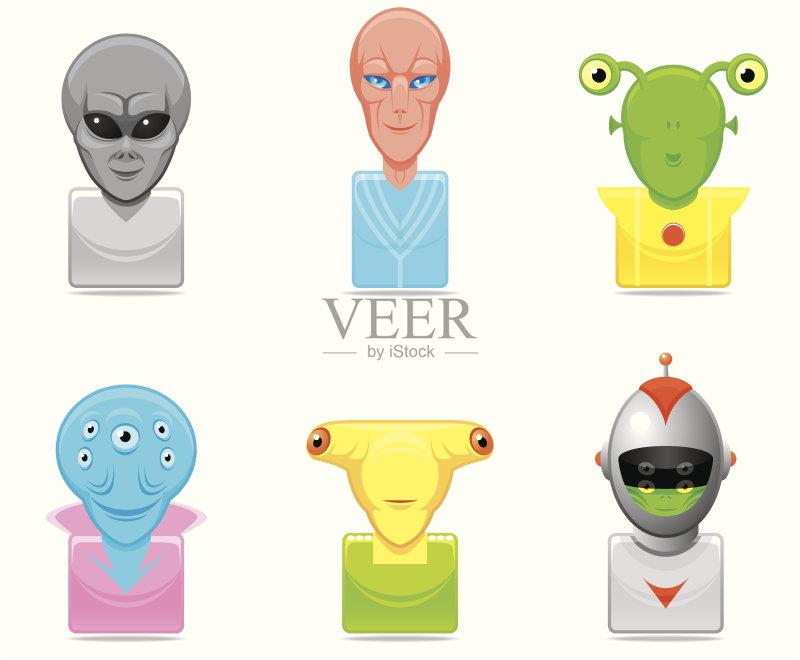 矢量 图标集 外星人 人的脸部 太空