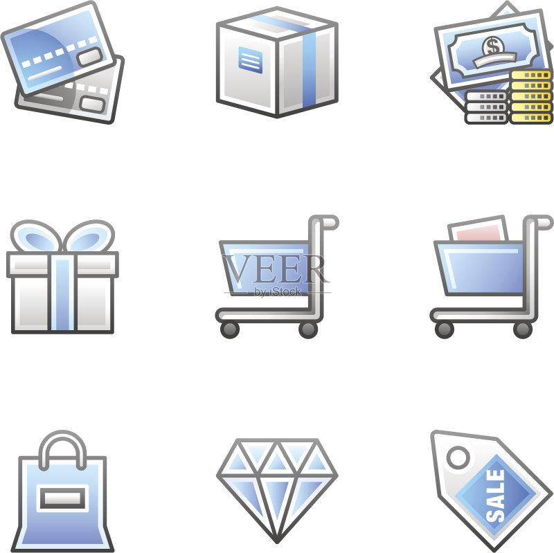 钻石 硬币 图标 包装纸 灰色 图标集 货币 网页 蓝色 商务 盒子 购物袋
