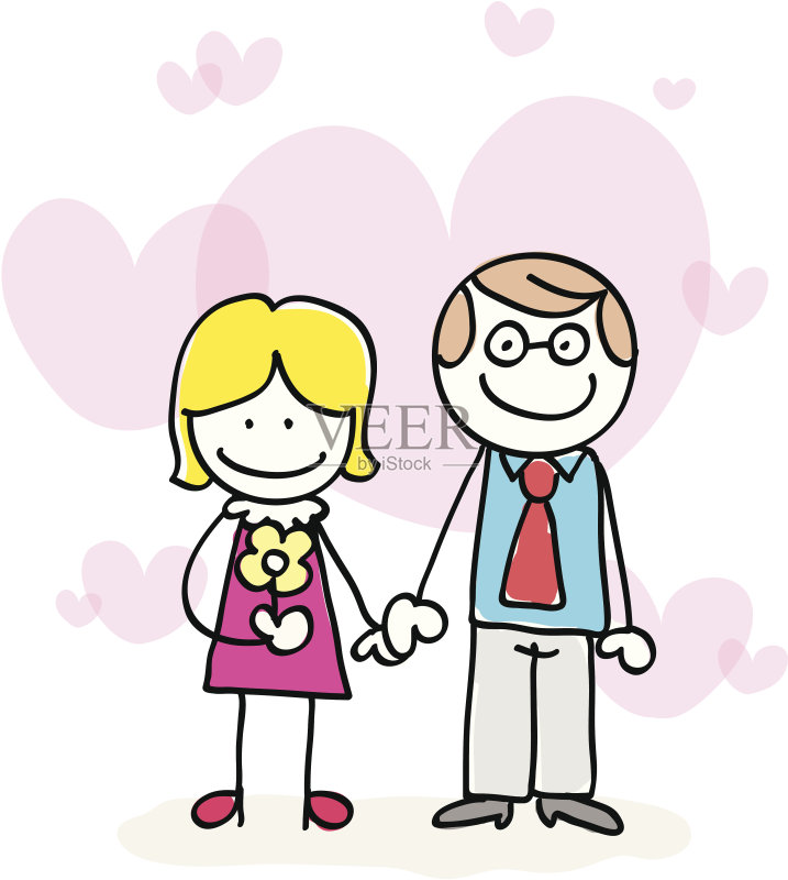 笔画 异性恋 母亲节 女人 卡通 肖像 心型 形状 站 父亲节 青年男人 母图片