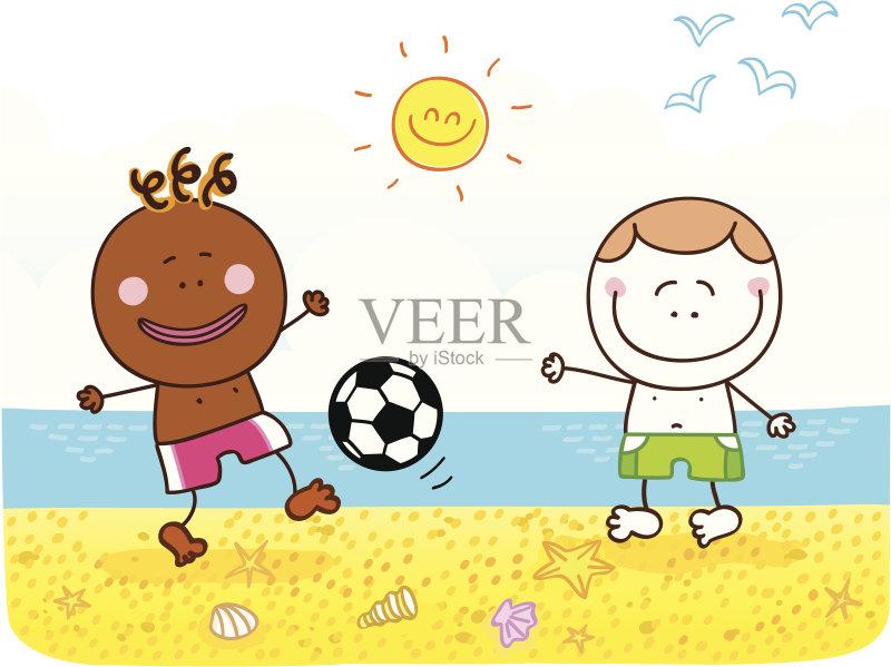 微笑 海滩 儿童画 进行中 男孩 自然美 嬉戏的 绘画插图 友谊 夏天 乐图片