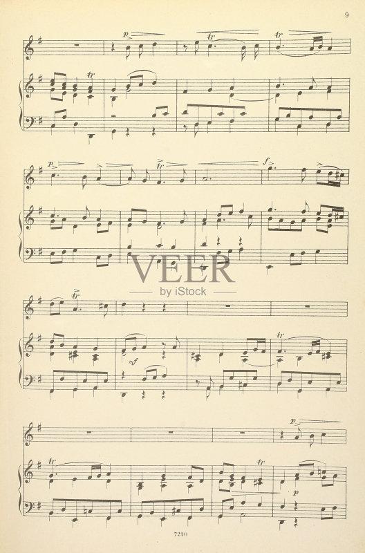 号 影棚拍摄 乐谱 古老的 白色背景 无人 古典式 音乐 复古风格 高音谱
