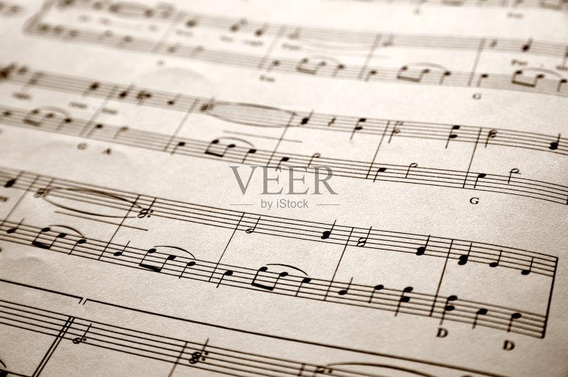 噪声 符号 乐谱 古老的 音乐符号 无人 古典乐 黑色 书 高音谱号 纸