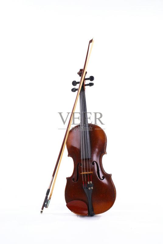 无人 音乐 乐器 小提琴 琴弓 白色背景
