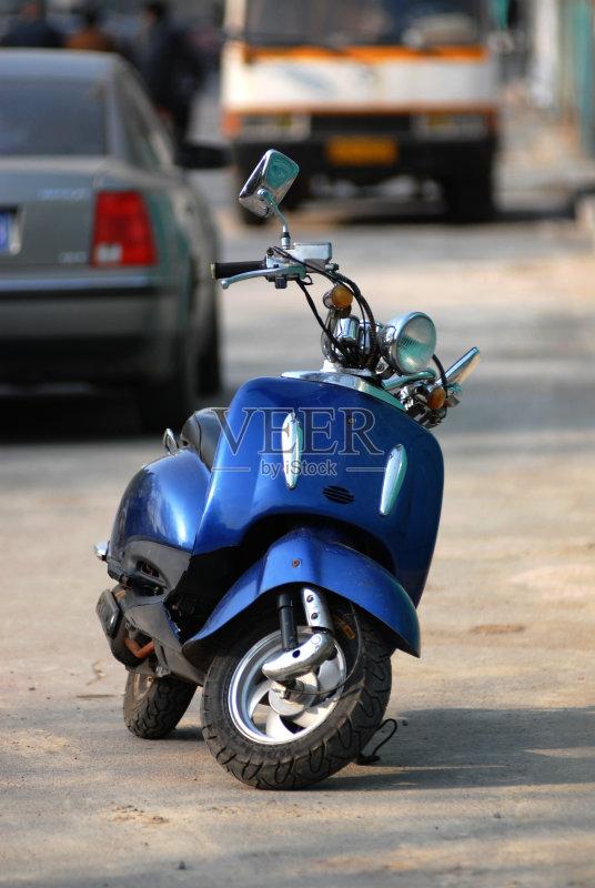 摩托车 无人 蓝色