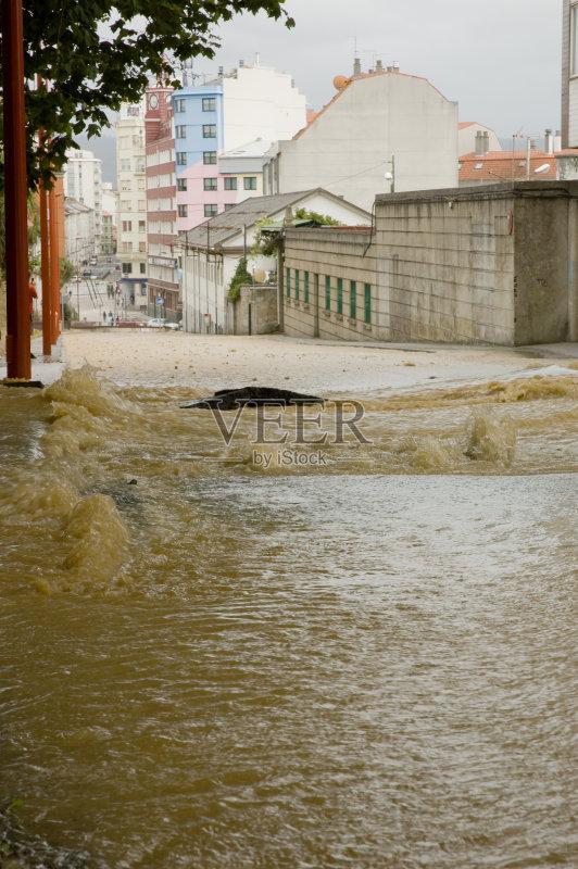 水灾 无人 雨 自然灾害 水 暴雨 街道