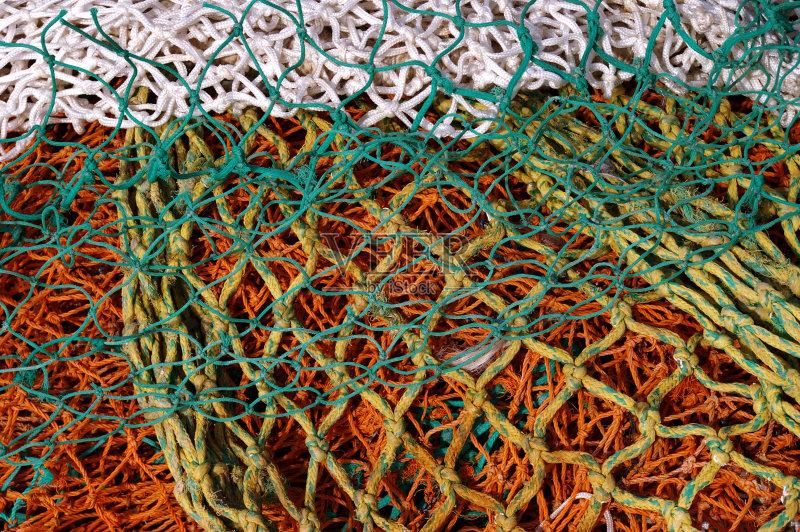无人 鱼网 打结 网 绿色 白色 纹理 绳子 橙色 堆 渔网 黄色