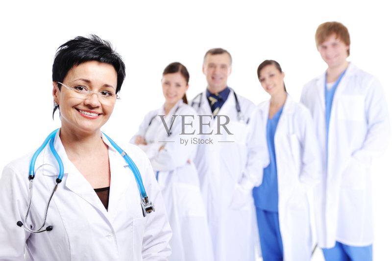 健康生活方式 医疗诊所 五个人 快乐 笑 成功图片
