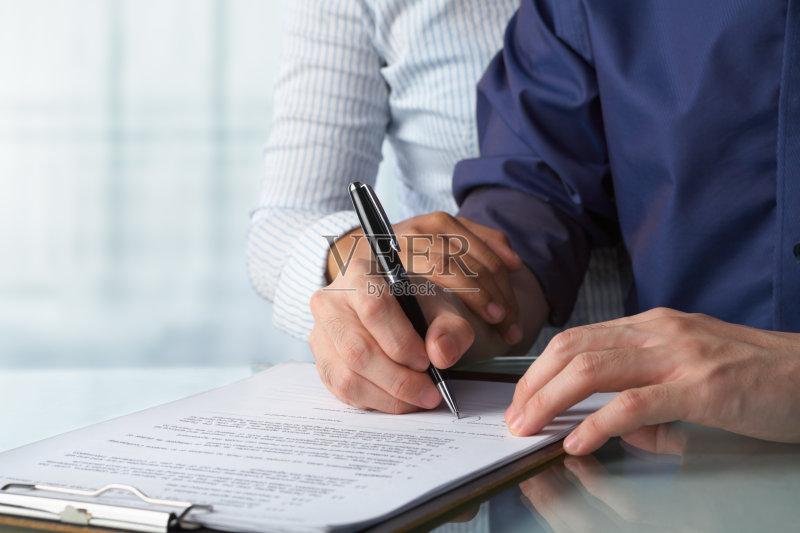 合同 文档 写字板 水笔 商务 室内 签字 办公室 伴侣 公司企业 纸 无法