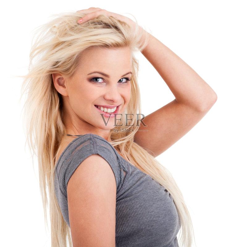 笑容-仅一个女人 人 欢乐 白色 女人 肖像 休闲装 时装模特 仅女人 白色