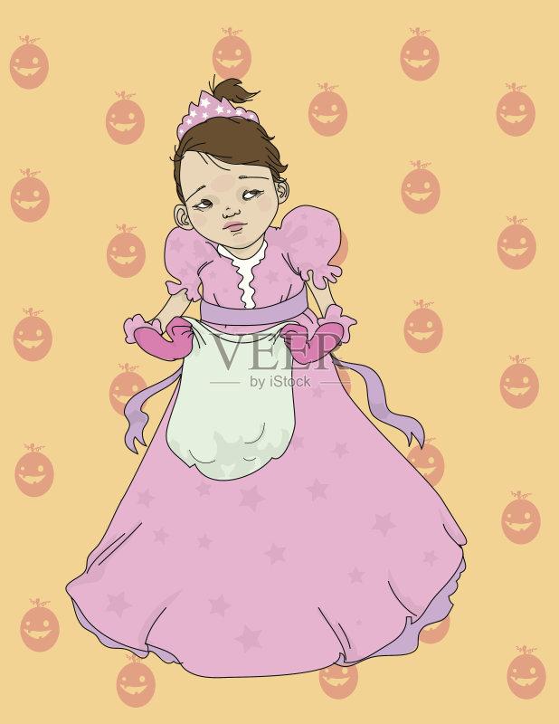 铅笔画 设计 星形 女孩 卡通 式样 南瓜 儿童 公主 王冠 剪贴画 紫色 幽默