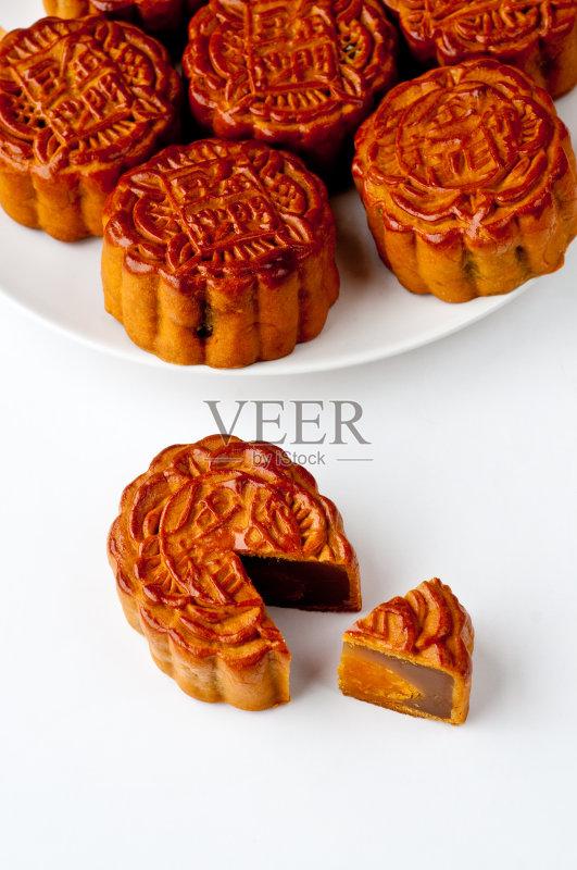 月饼 无人 方便食品 即食食品 中国文化 切片食物 蛋糕 月亮