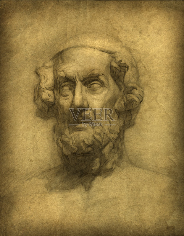 铅笔画 人 荷马 文化 古典希腊 多利安式 玷污的 肖像 人的头部 诗人 男