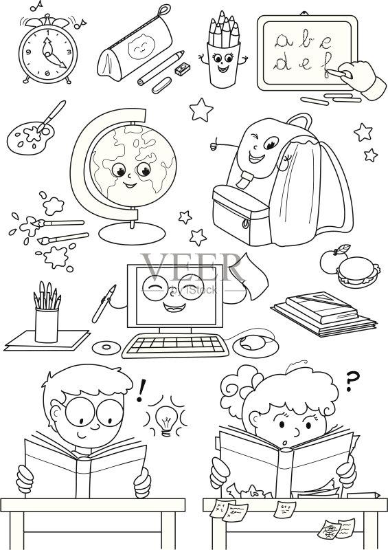铅笔盒 家庭作业 教育 技术 表 学习 书包 女生 计算机制图 台式地球仪
