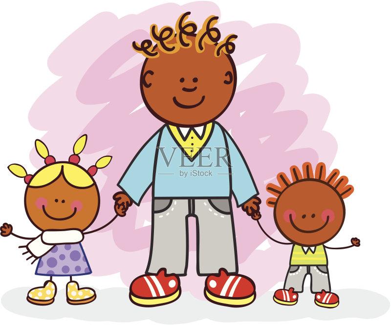 兄弟 青少年 儿童画 男孩 绘画插图 学生 友谊 线条画 拿着 青年人 女婴图片