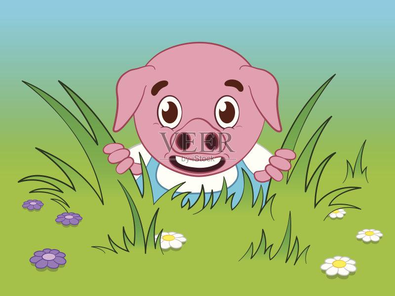 草 表现积极 剪贴画 小猪 宠物 可爱的 惊奇 绘画插图 猪 窥视 捉迷藏