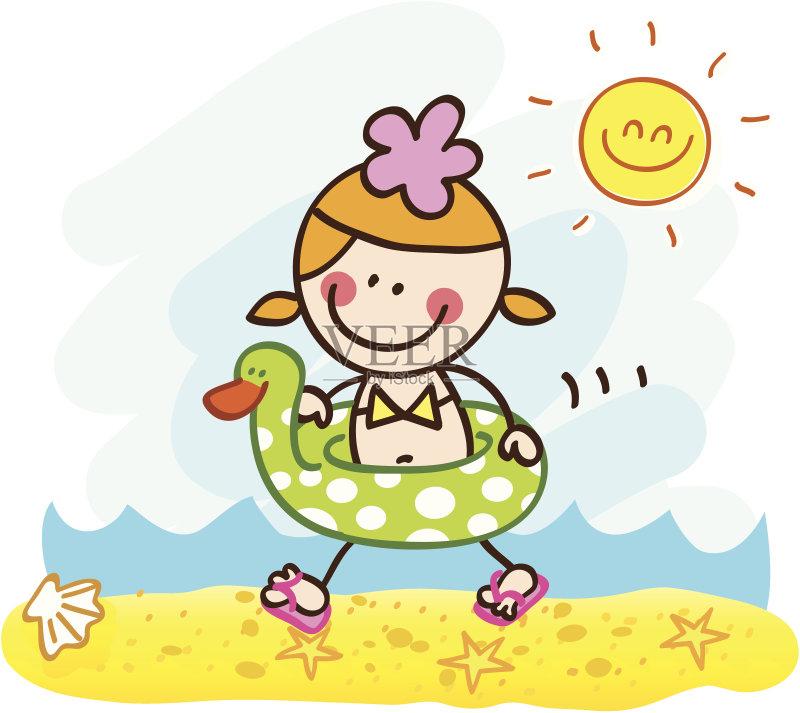 铅笔画 人 周末活动 橡皮鸭子 充气品 卡通 站 太阳 自然 儿童 旅游目的