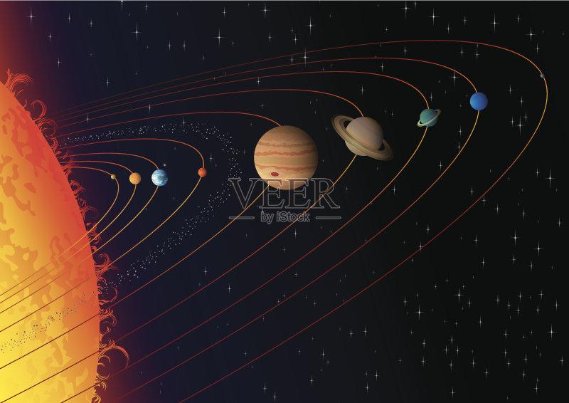 画插图 星星 太阳系 冥王星 小行星 夜晚 土星 天空 太阳 太空 木星 水图片
