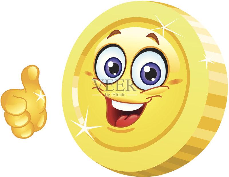 融 白色背景 表情符号 黄色 代币 拇指 财富 计算机制图 硬币 金色 微笑