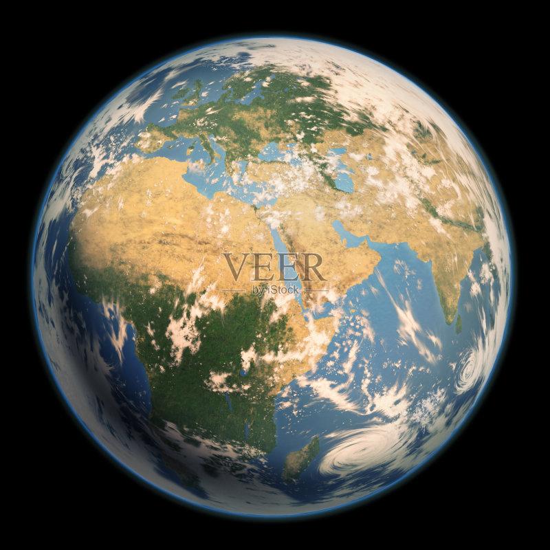 然地理 蓝色 地球 无人 印度 中东 泥土 行星 欧洲 云 海洋 计算机制图