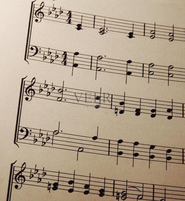 典乐 五线谱 复古风格 高音谱号 褐色 乐器 钢琴 古典风格 音乐剧