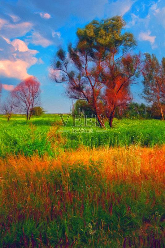 风景画-秋天 陆地 草原 灌木 植物 红色 天空 自然 黄色 白昼 纹理 云 草