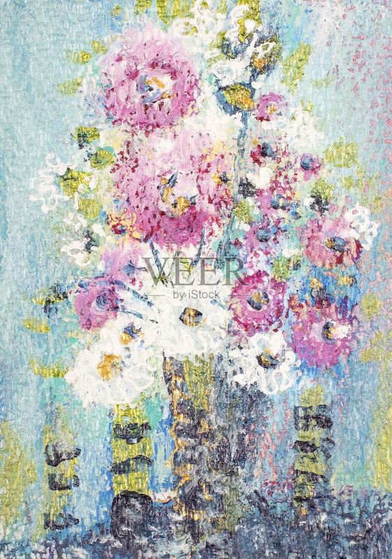 义 绘画插图 水粉画 仅一朵花 花瓶 自然 品红色 无人 复合媒材 艺术品