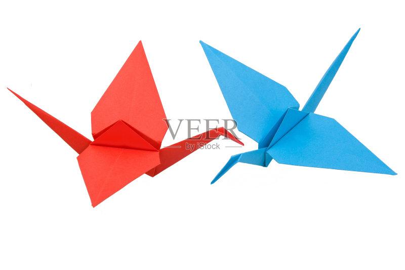 日本 手工纸 休闲活动 鹤 红色 白色背景 龙 装饰 竞技运动 折纸工艺 两图片