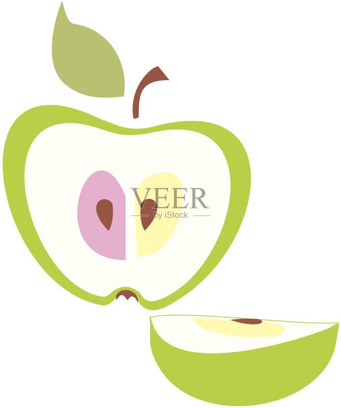 logo-水果 饮食 绿色 田园风光 绘画插图 膳食 横截面 熟的 精神振作 季