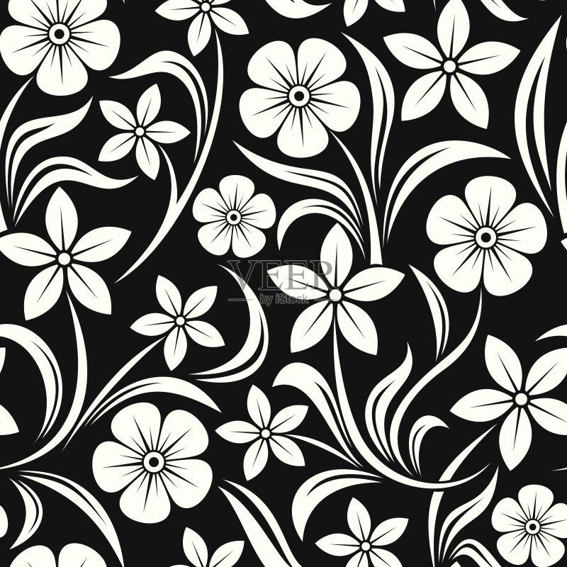 图案-设计 白色 轮廓 叶子 植物 黑色背景 式样 枝 自然 花纹 连续性 背景