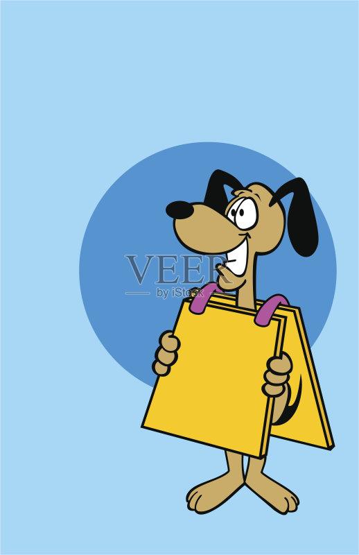 卡通狗-消息 幽默 绘画插图 卡通 广告 狗 蓝色 动物 商务 咧嘴笑 沟通