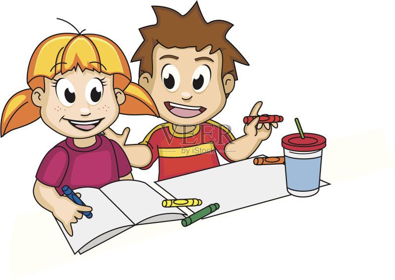 画 儿童 家庭作业 教育 生活方式 团队 男孩 做计划 知识 分享 儿童教育