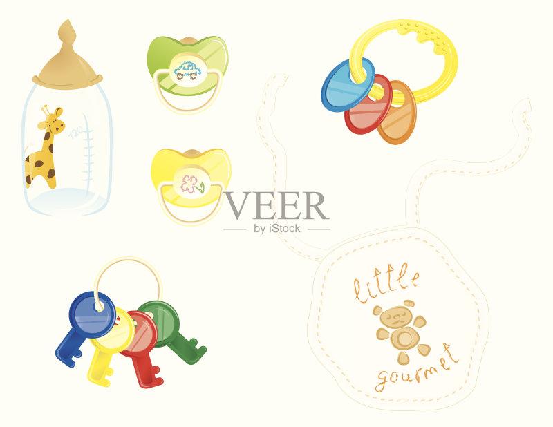 婴儿用品 新生活 剪贴画 婴儿奶瓶 汽车 玩具 色彩鲜艳 婴儿口水兜 可