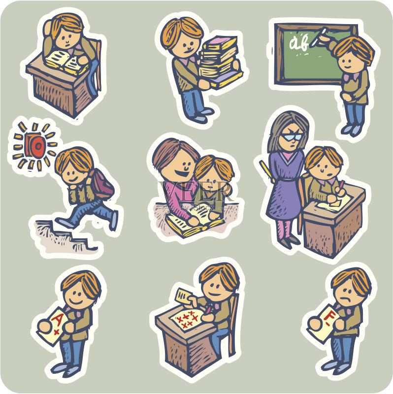 家庭作业 教育 小学 学习 服务铃 铃 男孩 文字 知识 考试 儿童教育 绘