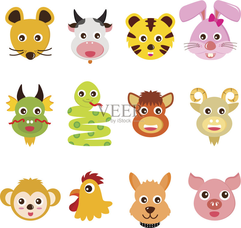 羊 卡通 十二生肖 蛇 野牛 儿童 龙 插图画家 动物头 算命 马 星座 剪贴