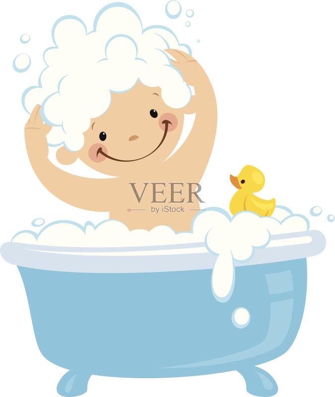 可爱的 免费沐浴 绘画插图 6到11个月 下沉式浴缸 仅婴儿 乐趣 蓝色 图片