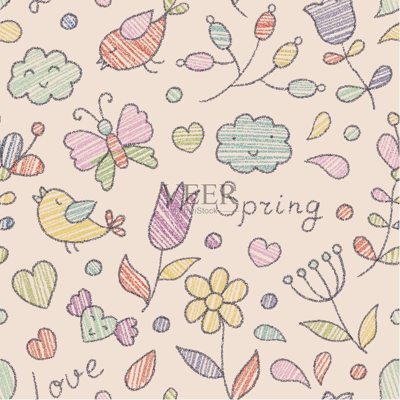 画 枝 花纹 蜡笔画 华丽的 云景 背景 鸟类 简单 色彩鲜艳 蝴蝶 文字 情