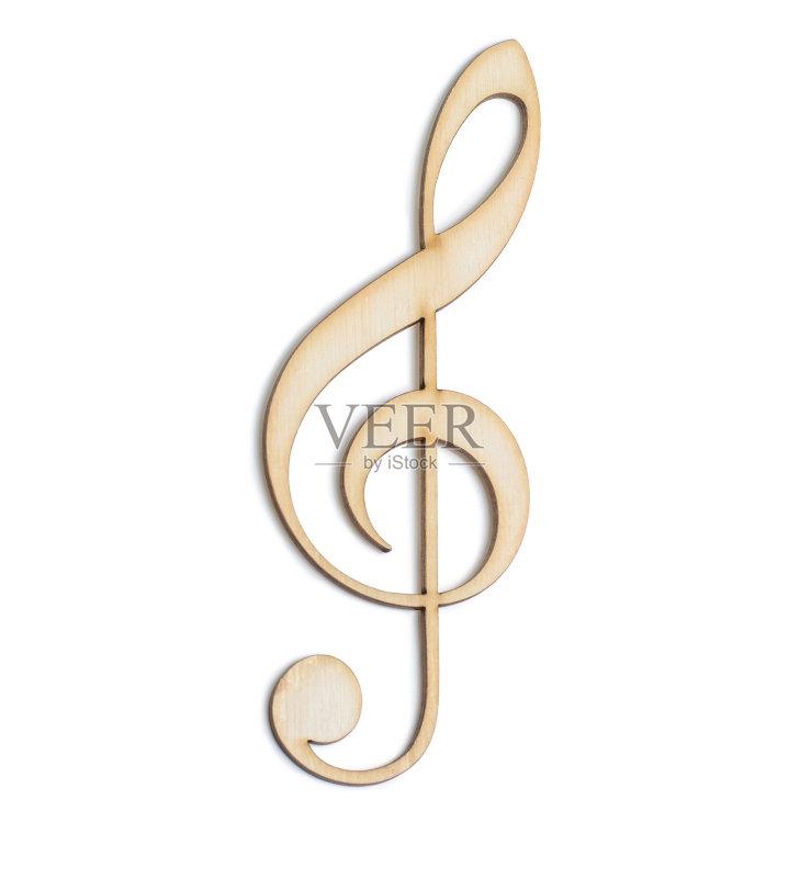 音乐 合板 高音谱号 符号 影棚拍摄 白色背景 标志