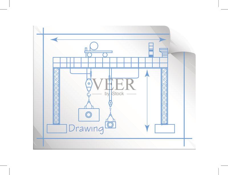 图纸-做计划 蓝图 思考 绘画插图 概念和主题 机器 工程师 建筑平台 拿