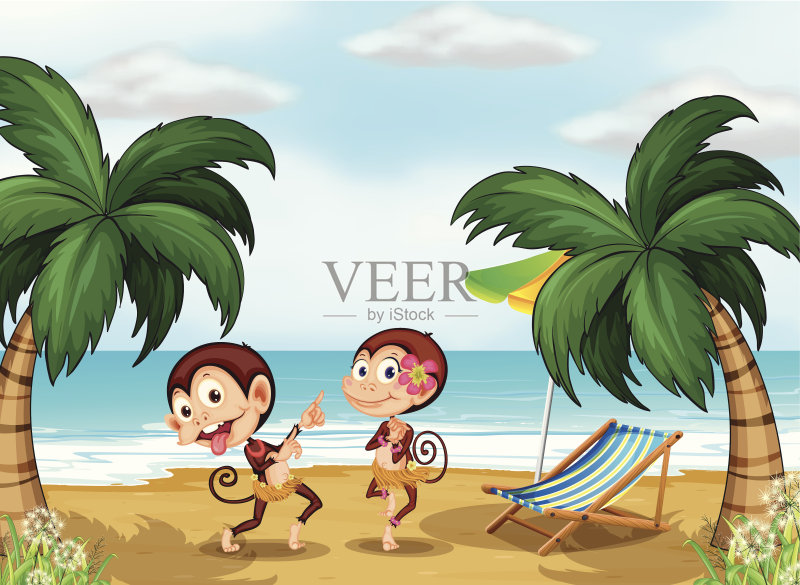 草 剪贴画 猿 海滩 绘画插图 夏天 乐趣 动物 沙子 衣服 水 哺乳纲 树