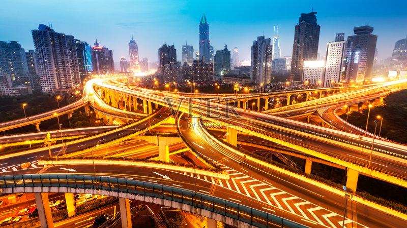 立交桥- 运输 城市 立交桥 上海 城市天际线 迅速 市区 中国 公路 流动 都市风