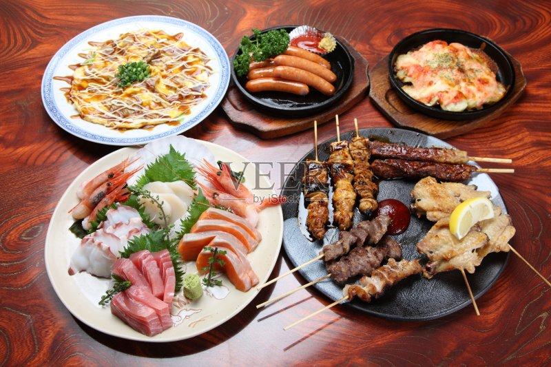 美味食品 日本料理 香肠 鲔鱼 章鱼 烧烤 无人 鸡肉 芥末酱 红笛鲷 生食