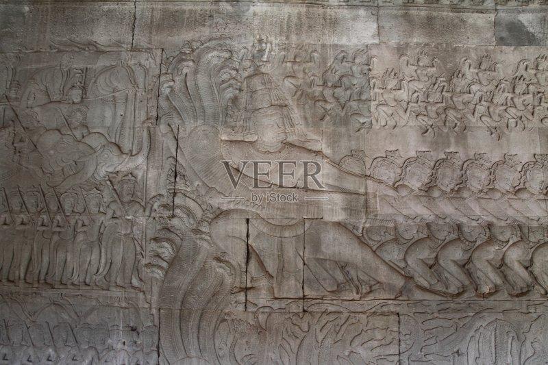 救济 吴哥窟 浮雕雕刻 东亚文化 东南亚 亚洲 减轻 柬埔寨 雕刻术 雕塑 图片