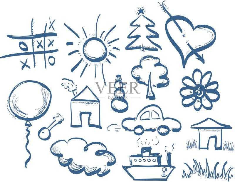 标记 进行中 热气球 嬉戏的 铅笔画 星星 图标集 动物手 动物躯体的组