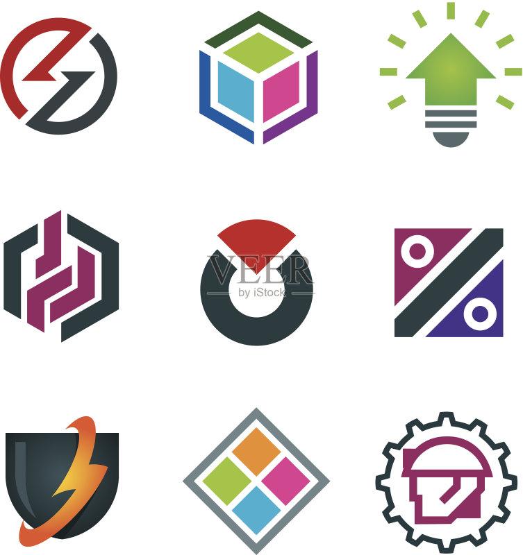 logo- 团队 建造 标签 电话机 负责任的企业 绿色 计算机网络 多媒体 图标集
