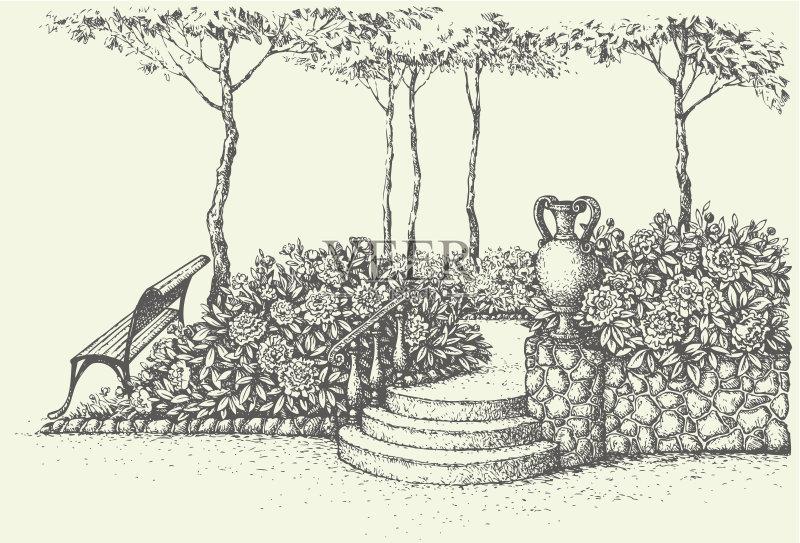 铅笔画 花坛 花瓶 景观设计 公园长椅 艺术品 墨水 玫瑰 楼梯 非都市风光