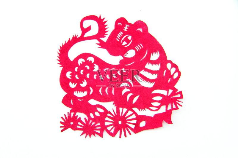 剪纸-动物斑纹 文化 虎 白色 手艺 原生态文化 运气 美 红色 式样 美术工图片