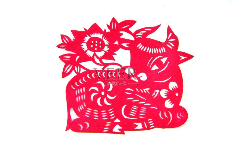 剪纸-动物斑纹 文化 白色 手艺 原生态文化 运气 美 牛 红色 式样 美术工图片